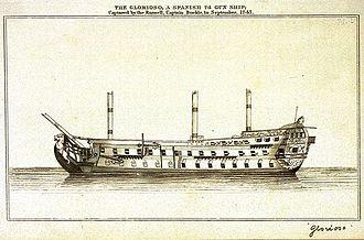 Voyage of the Glorioso - British engraving representing the Glorioso.