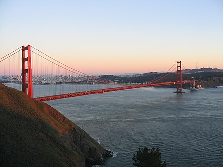 The Golden Gate Bridge is the only road connection to the North Bay Golden Gate Bridge 1926.jpg