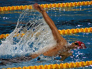 Backstroke swimming style in which one swims on ones back