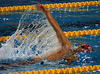 Backstroke - Gordan Kožulj swimming backstroke at 2008 Euros