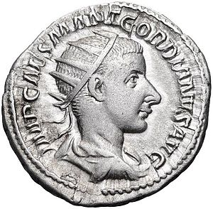 Antoninianus of Gordian III. Inscription: IMP. CAES. M. ANT. GORDIANVS AVG. Gordian III Antoninianus.jpg