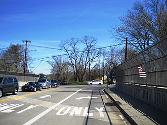 Gordons Corner, New Jersey - Looking north along Tennent Road (CR 3) at the US 9 interchange