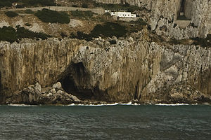 Gorham's Cave - View of Gorham's Cave on the east face of the Rock of Gibraltar