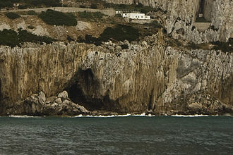 Neanderthals in Gibraltar - The entrance to Gorham's Cave on the south-eastern flank of the Rock of Gibraltar