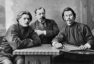 Znanie (publishing company) - Maxim Gorky, Konstantin Pyatnitsky and Stepan Skitalets, 1902.