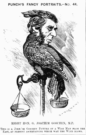 "George Goschen, 1st Viscount Goschen - Caricature from Punch, 13 August 1881: ""This is a Joke-'im Goschen Picture of a Wise Man from the East, at present ascertaining which way the wind blows"""
