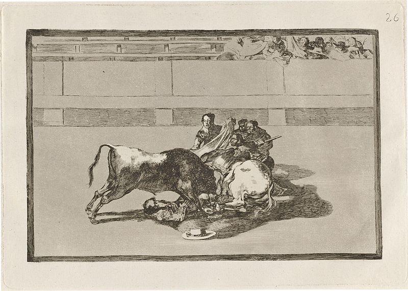 File:Goya - Caida de un picador de su caballo debajo del toro (A Picador is Unhorsed and Falls under the Bull).jpg