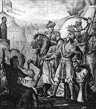 Grand Duke Mikhail Yaroslavich Being Murdered at Golden Horde