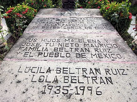 Beltran's grave with wrong birthdate at Church of Our Lady of the Rosary in El Rosario, Sinaloa Grave of Lola Beltran.jpg