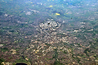 Greater Manchester Built-up Area - An aerial photograph looking west, centred on Manchester and Salford