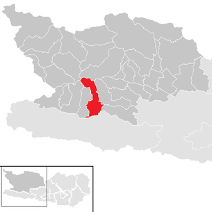 Location of the municipality of Greifenburg in the Spittal an der Drau district (clickable map)