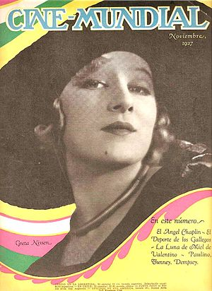Greta Nissen - Nissen on cover of November 1927 issue of movie magazine Cine Mundial