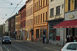 Grünerløkka, Oslo. View of Thorvald Meyers gate and Frisky Foxtrot Facilities
