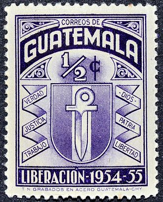 "Carlos Castillo Armas - A Guatemalan stamp issued during the Castillo Armas administration, celebrating the ""Liberation"" of 1954–55."