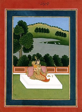 Alivardi Khan - A young woman playing a Veena to a Parakeet, a symbol of her absent lover. Painting in the provincial Mughal style of the Nawab of Bengal.