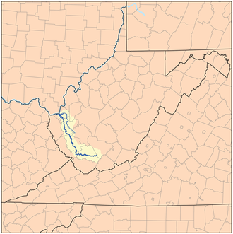 Guyandotte River - Guyandotte River watershed showing the Guyandotte and Mud rivers