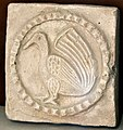 Gypsum wall carving depicting a bird, Sassanian period, 226-637 CE, from Kish, Iraq. Iraq Museum.jpg