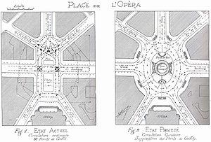 Eugène Hénard - Detailed plan for transforming the place de l'Opéra into a carrefour à girations (roundabout)