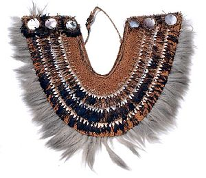 Tahitian Dog - The taumi, a traditional breast ornament, fringed with dog hair from the Tuamotus, James Cook Collection: Australian Museum