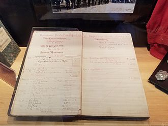 Honolulu Fire Department - 1892-1893 HFD Accountant book, which recorded the date that HFD became a paid fire department, March 1, 1893.