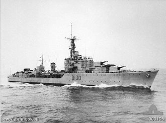 HMAS Arunta (I30) - Arunta in November 1952, shortly after re-entering service