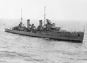 The light cruiser HMAS Sydney, lost in a battle in the Indian Ocean, November 1941 HMAS Sydney (AWM 301473).jpg