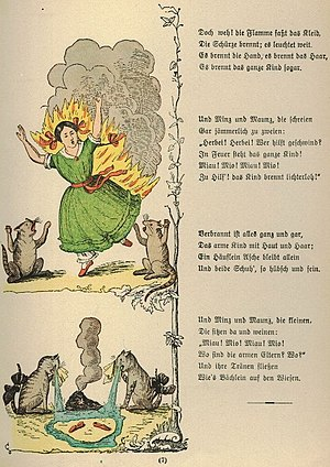 "Cautionary tale - Stories about playing with matches do not have happy endings.  An illustration from ""The Dreadful Story of Pauline and the Matches"" from Struwwelpeter, by Heinrich Hoffman, 1858."