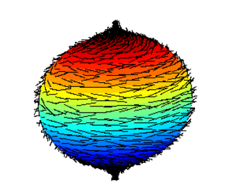 Hairy ball theorem - A failed attempt to comb a hairy 3-ball (2-sphere), leaving a tuft at each pole