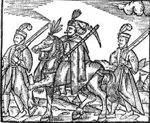 Aiduchi, da un'illustrazione del opera di Bartosz Paprockis (1578). Al centro un Hetman.