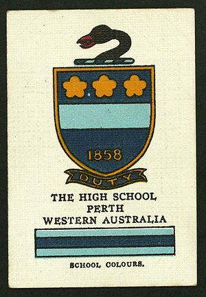 Hale School - Collectable cigarette card featuring the Hale colours and crest, c.1920s.