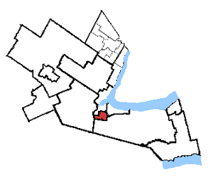 Hamilton Mountain - Hamilton Mountain in relation to the other Hamilton area ridings