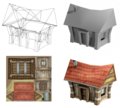 Hand-painted house 3D model stages.png