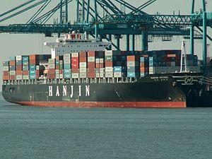 Hanjin Ottawa IMO 9200718, at the Amazone harbour, Port of Rotterdam, Holland 19-Sep-2005.jpg