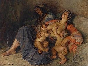 Hans Larwin - Gypsy with her two Children - Zigeunerinnen mit ihren zwei Kindern, 1920s