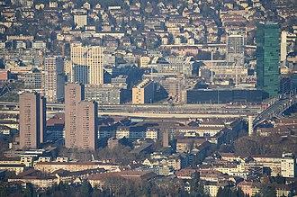 Hard (Zürich) - Hard and Hardau buildings as seen from Uetliberg (November 2013)