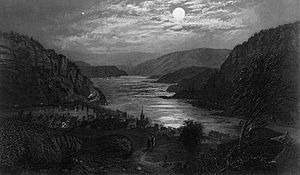 English: Harpers ferry by moonlight-small