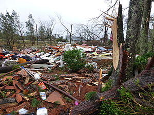 Tornadoes of 2013 - Remains of a house that was completely leveled by the Hattiesburg, Mississippi tornado.