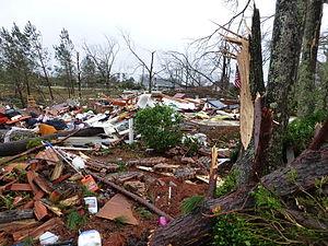 2013 Hattiesburg, Mississippi tornado - EF4 damage to a house near Oak Grove High School.
