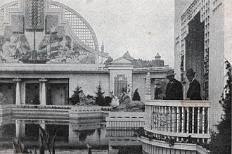 Danish National Exhibition of 1909 - Anton Rosen on a balcony overlooking the Garden Hall during the construction phase.