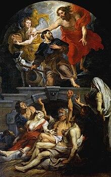 Heilige Rochus puerta Christus aangesteld tot patroon van de pestlijders - Peter Paul Rubens - Sint-Martinuskerk Aalst.jpg
