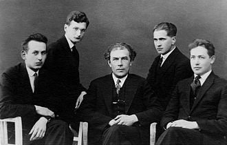 Heino Eller - Heino Eller (center) with composers (left to right) Eduard Tubin, Olav Roots, Karl Leichter and Alfred Karindi of the Tartu school of composition. 1930