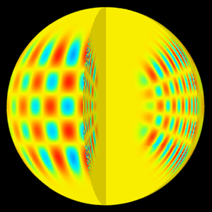 Helioseismology - A computer-generated image showing the pattern of a p-mode solar acoustic oscillation both in the interior and on the surface of the sun. (l=20, m=16, and n=14.) Note that the increase in the speed of sound as waves approach the center of the sun causes a corresponding increase in the acoustic wavelength.