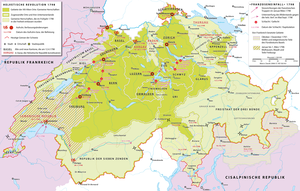 French invasion of Switzerland - Map of the French invasion of Switzerland and the simultaneous Helvetic Revolution.