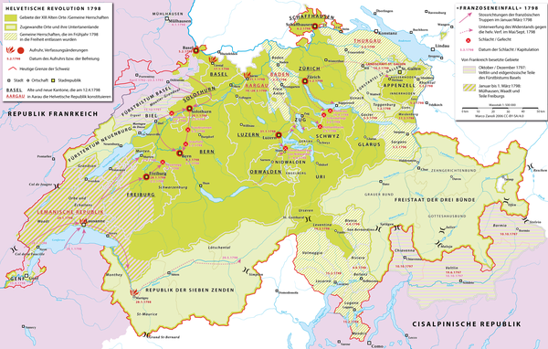 Map of the French invasion of Switzerland and the simultaneous Helvetic Revolution. Helvetische Revolution.png