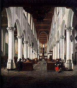 Hendrick Cornelisz van Vliet - Interior of the Nieuwe Kerk, Delft, from beneath the Organ Loft at the Western Entrance.jpg