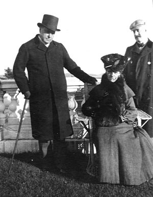 Howard Sturgis - Henry James, Edith Wharton and Howard Sturgis on the veranda at The Mount