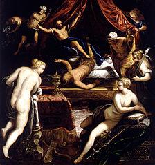 Herkules wypędza Fauna z łoża Omfale