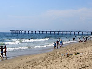 Hermosa Beach, California - The Hermosa Beach pier on a hot summer day.