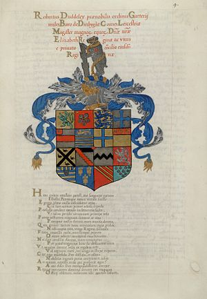 John de Beauchesne - Arms of Robert Dudley, Earl of Leicester with calligraphy by John de Beauchesne. Heroica Eulogia, manuscript HM 160 fol. 11, Huntington Library.