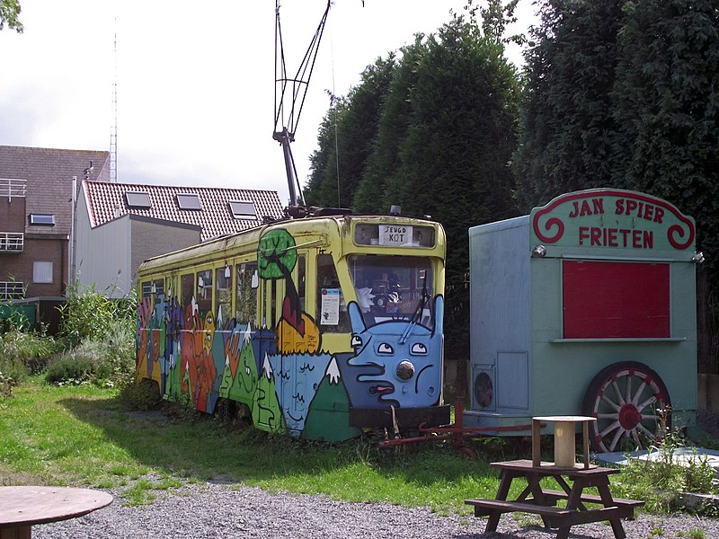 Former vicinal railway station area. Brussels tram used as a youth place.